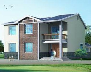 457湖南新农村双拼二层别墅住宅图纸~16.5m×12m